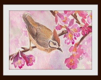 "A Little Birdie Sitting On A Beautiful Cherry Blossom Tree-Watercolors Original Art Print, Size 5""x7"",Size 8""x10"",Home Decor, House Warming"