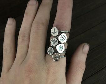 Wolf Ring - Viking Ring for Women - Spirit Animal - Silver Stacking Ring - Raven Ring - Deer - Bear - Tribal Jewelry - Totem