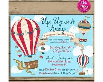 Hot Air Balloon Baby Shower Invite, Hot Air Balloon Shower, Hot Air Balloon Invite,  Hot Air Balloon Invitation,  Baby Shower Invitation