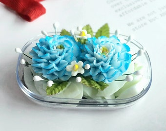Double Blue Zinnia Flowers Hand Carved in Soap Bar with Jasmine Aroma Essential Oil, Decorative Soap Carving by Thai Artisan. Unique Gifts