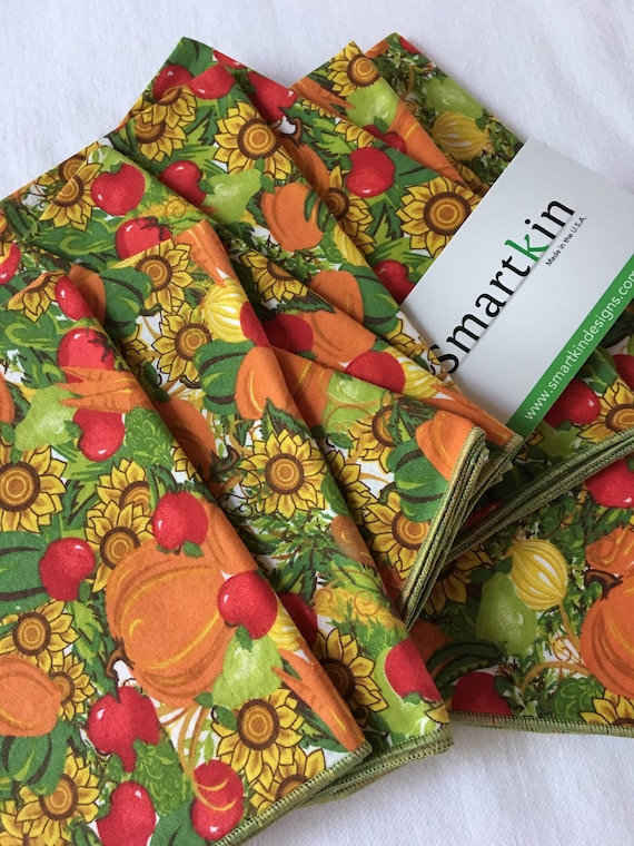 Orange Pumpkin Fall Harvest All Cotton Cloth Napkin 12 x15 in Size by Smartkin