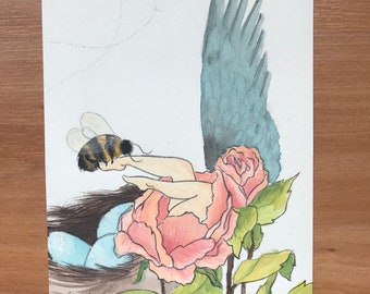 Birds and the Bees Original Painting