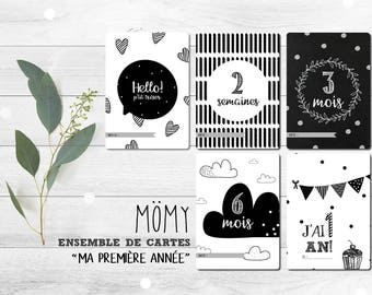 """Set of souvenir cards """"Baby's first year"""", black and white cards-steps baby milestone, birthday gift"""
