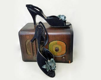 50s High Heels / 1950s Slingback / 1950s Sandals / 1950s High Heels / Henri Flatow Shoes / 50s Shoes / 1950s Shoes / 50s Slingback / Size 9