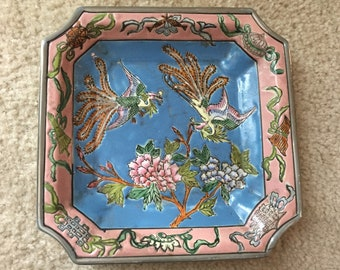 Collectible Decorative Macau/ HK 1960's Bird and Floral Design Plate