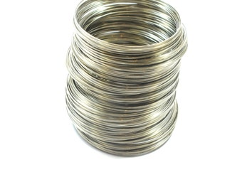 Silver Plated Memory Stainless Steel Wire, Silver Wire 0.6mm/ 186 Loops/Circles