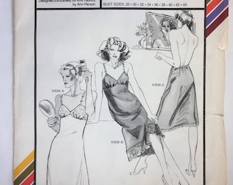 Vintage Stretch& Sew 2055 Full and Half Slips Pattern by Ann Person Bust 28-44 Uncut Dated 1982