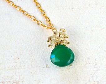 Sea Spray Necklace - mixed gemstone halo necklace, green onyx, labradorite, color play necklace, colorful pendant necklace