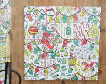 Christmas Patchwork Pattern Gift Wrap - christmas wrapping paper - christmas gift wrap - vintage wrapping paper - christmas paper