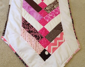 Pink and Brown quilted Table Runner