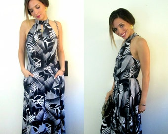 Black and White Abstract Print Dress Vintage 1990s Peephole Bodice Flared Skirt