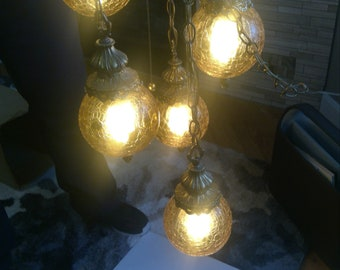 Swag Lamp with Amber Crackle Glass, Multi Light Pendant, Mid Century Chandelier, 5 Lights