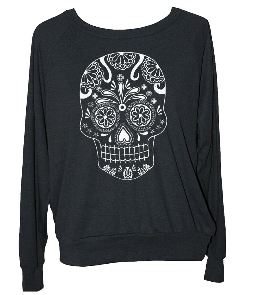 womens sugar skull sweatshirt american apparel long sleeve