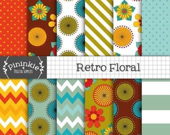 Floral Digital Paper, Retro Floral Digital Scrapbook Paper, Chevrons, Polka Dots, Stripes, Instant Download, Commercial Use
