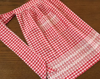 Red Gingham Half Apron Red Cross Stitch Over White Rick Rack 20 inch Waist 24 inchTies Apron Strings