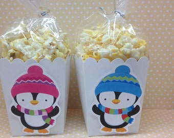Penguin Winter Wonderland, Onederland Party Popcorn or Favor Boxes - Set of 10