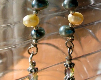 Pearl Drop earrings, blue and cream, delicate and feminine