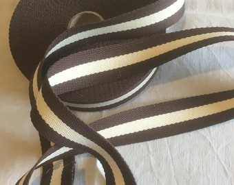 Strap bagagere, cotton, two-tone, brown/beige/brown color, width 30 mm