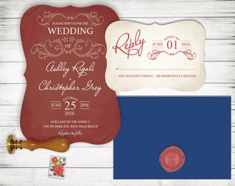 Maroon Wedding Invitation Set - RSVP Card Included - Affordable but Not Cheap Looking