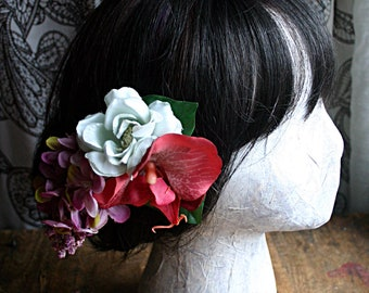 Garden Tea Party Fascinator Flower Cluster Clip  - Vegan, Tribal, Belly Dance, Wedding, Pin Up, Hair Garden, Rose, Orchid, Lilac
