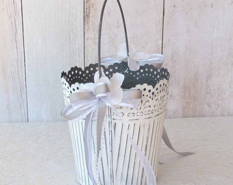 Round White Metal Pail for your Vintage Wedding