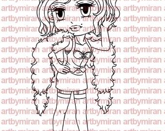 Digital Stamp - Sassy Sylvia, Digi Stamp, Coloring page, Printable Line art for Card and Craft Supply