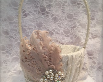 flower girl basket, blush and ivory flower girl basket