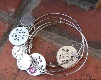Adjustable bangle bracelet, Hand stamped jewelry, mommy jewelry, personalized, personalized jewelry,  personalized jewelry,  hand stamped,