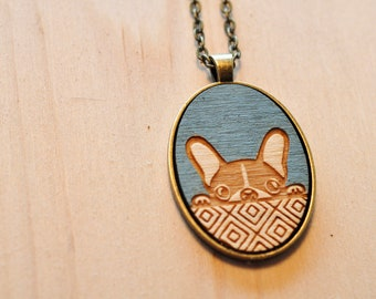 Lasercut Frenchie Dog Wood necklaces | dog necklace | wood jewelry