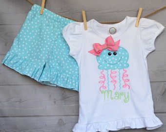 Personalized JellyFish Applique Shirt or Bodysuit Girl
