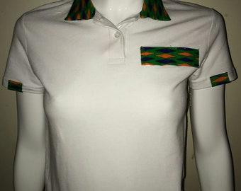 Women Dashiki Polo White with collar and stripe (white and green) Black Panther Wakanda Motherdays