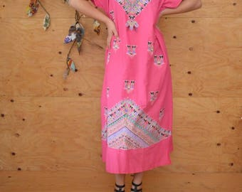 Vintage 70's Bold Beautiful Egyption Ethnic Maxi Caftan In Hot Pink & Teal One Size