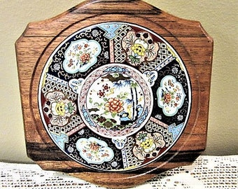 Vintage Tray Tile Wood Cheese Plate Platter Floral Porcelain Ceramic Kitchen blm