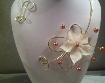 Arabesque necklace Gold Flower of silk & wedding, party