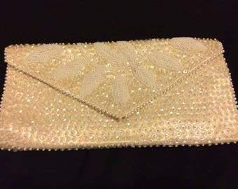 Vintage Seed Bead Ivory Evening Clutch