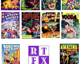 Old Time Comic Book Cover Collection Blank Cards Handmade 10 cards Any Occasion Blast from the Past