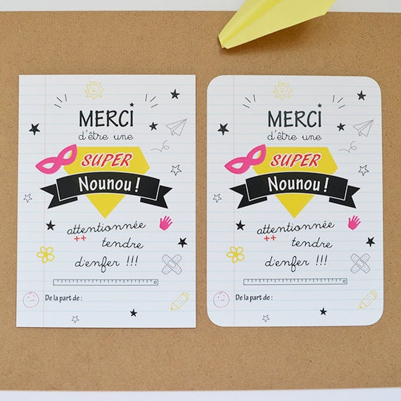 Populaire Carte remerciements Nounou cadeau nounou super nounou carte DN53