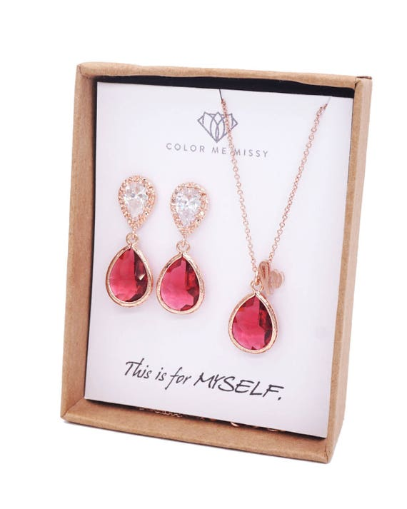 Rose Gold Ruby Teardrop Rose Gold FILLED Personalised letter Necklace Earrings - Wedding Bridesmaid bridal shower gifts weddings