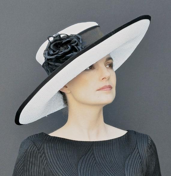 Formal Hat, Ascot Hat, Black & White Hat, Wedding Hat, Church Hat, Wide Brim Hat, Special Occasion Hat