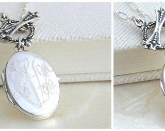 Antique Style Sterling Silver Monogrammed Oval Locket Lavaliere Necklace w/Toggle Clasp - Eco Friendly Recycled Silver