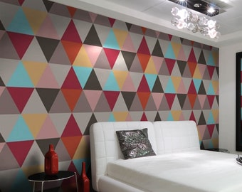 Geometric wallpaper - colorful triangles, self adhesive, temporary, removable nursery mb055