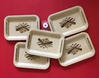 Set of 5 vintage tin trays