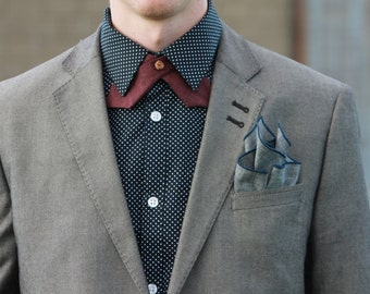 Continental/Vintage Style Tie - Chambray Maroon