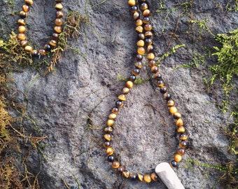 Tigers eye & Deer Antler Tip Necklace--Natural--Boho--Rustic--