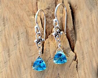 Topaz And Sterling Silver Earrings | December Birthday Gift | Topaz Birthstone Earrings | December Birthstone | Topaz Birthstone Jewelry