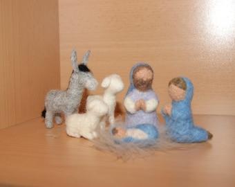 Needle Felted Nativity Set, Christmas decoration, natural nativity set,  Made to Order