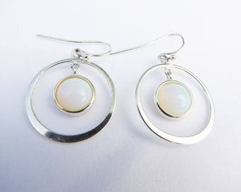 Modern Silver Hoops Boho Bohemian Earrings Geometric Circle Earrings Long Pendant Gypsy Loop Earrings Rainbow Drops