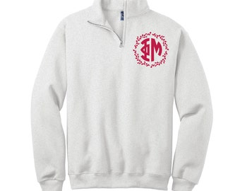 Custom Phi Mu 1/4 Zip Pullover Sweatshirt in Your Color Choices lWKTh