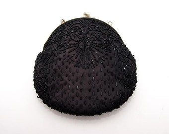 Vintage black satin hand embroidered clutch bag from China 4356