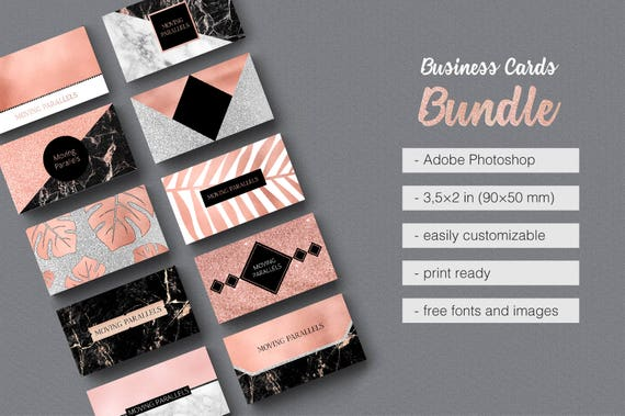 Rose gold white black marble glitter foil business card rose gold white black marble glitter foil business card template bundle pack kit reheart Image collections